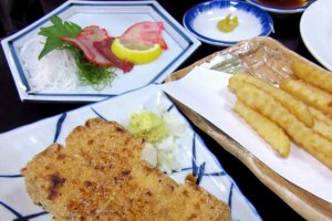 Whale meat (upper left) and fried tofu are delicious!