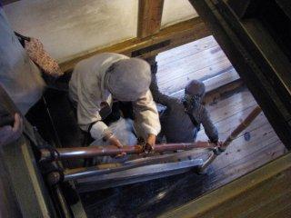 Steep narrow stairs