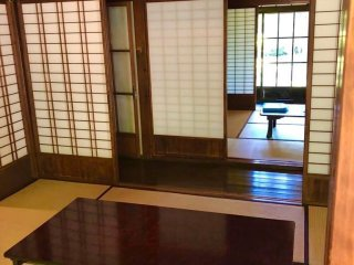 Interior of one of the many historical traditional Japanese-style residences visitors can see