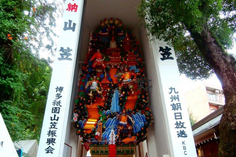 Chuẩn bị cho Yamakasa ở đền Kushida