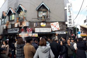The famous Tora-san statue of actor Kiyoshi Atsumi outside Shibamata Station