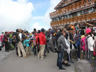 Crowded with people to climb Mt.fuji during Summer