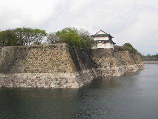 Stone walls and a moat around Osaka Castle