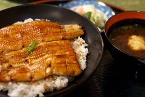 Succulent pieces of unagi over a bed of rice