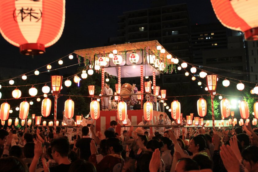 A yagura stage featuring taiko drummers
