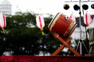 A taiko drum in readiness for a bon odori festival
