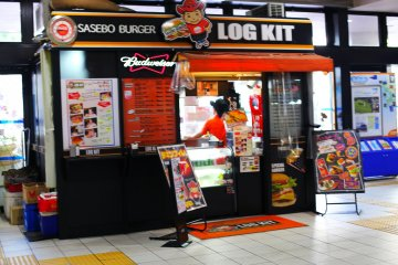 Sasebo's famous burger is available while you're waiting for the train