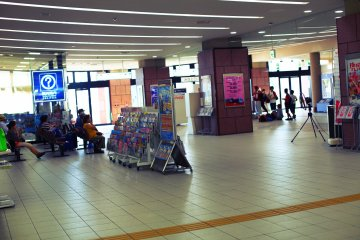 The station's lobby has ample seating, fans and televisions to keep you comfortable
