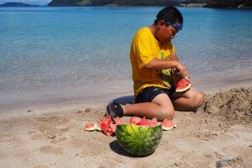 일본에서는 수박 없이는 해변에 갈 수 없습니다.