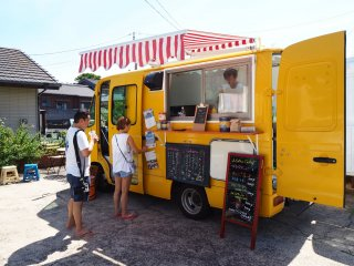 You can get your lunch at the 'Flourjams' food truck. This serves hot sandwiches and curry