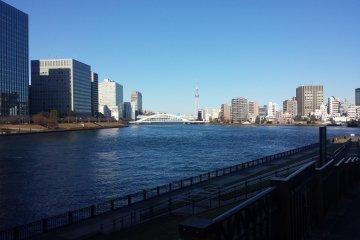 The view of Eitai Bridge and Tokyo Skytree