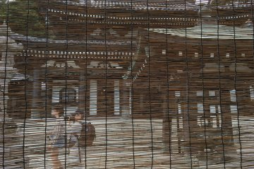 The Kannon-do, the main hall of the temple filtered through the sudare (Japanese traditional blinds)