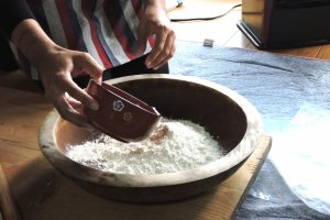 Adding water to flour