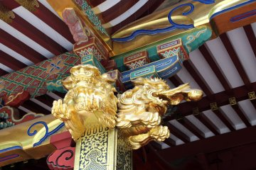 Golden color is often used in temples of Japan
