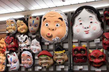 Many masks can be found on the trading street Nakamise-dori in Asakusa