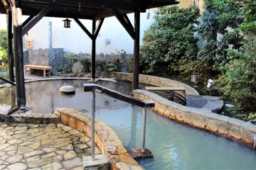 The white-milky water comes directly from the hot spring source