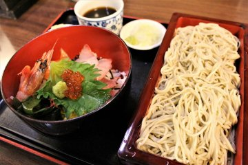 Soba noodles and seafood rice bowl