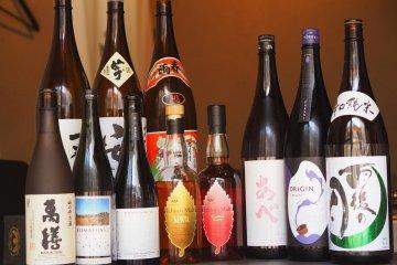 A range of sake at Mujo Tokyo