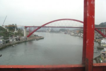 Two red bridges connect with Kurahashi-jima