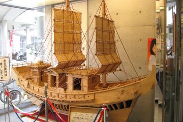 Wooden model of an old ship