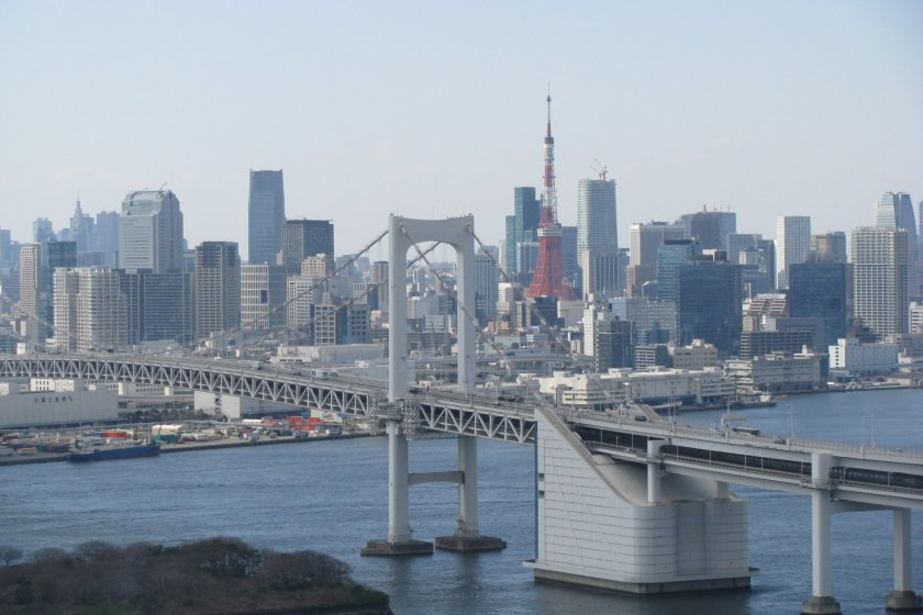 The view from Fuji TV spherical observation deck, Hachitama