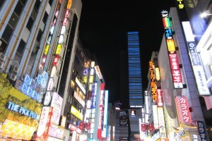 Night in Shinjuku sparkles with lights