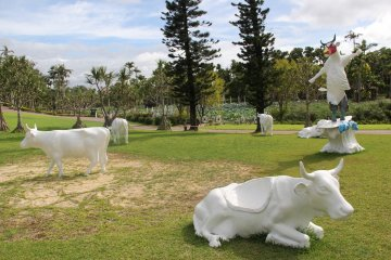 <p>Pose for a picture with these cows, or sign up your child to paint them in one of the many art and craft programs that Southeast Botanical Gardens offers</p>