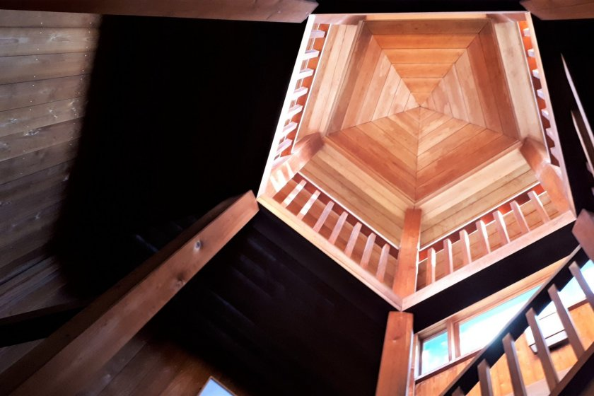Interior view of the tower ceiling from the bottom