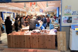 Fishmongers galore inside