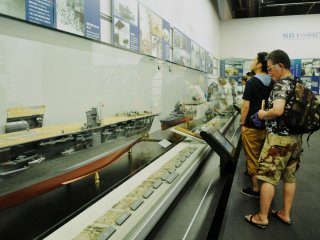 The museum displays handwritten letters of some of the 2475 sailors who died in the Yamato. Pictures are forbidden.