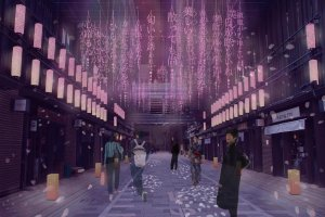Nihonbashi Art Street (image). Word-themed installation of weeping cherry blossoms from March 16 to 31.