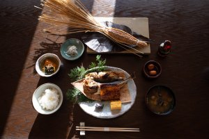 Traditional Japanese breakfast at Satoumitei