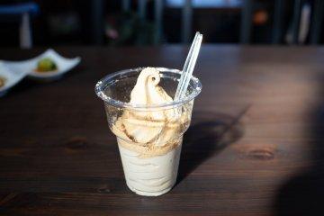 Soy sauce soft cream treat at Kurosawa Shouyuten