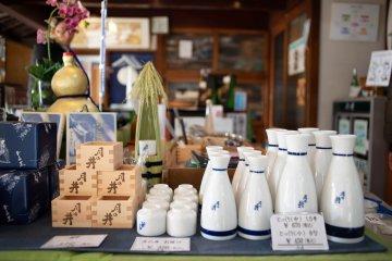 Merchandise in the Tsukinoi Shuzoten shop