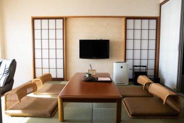 Lounge area in the Oarai Hotel room