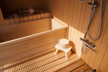 Japanese cedar sea view bath at the Oarai Hotel