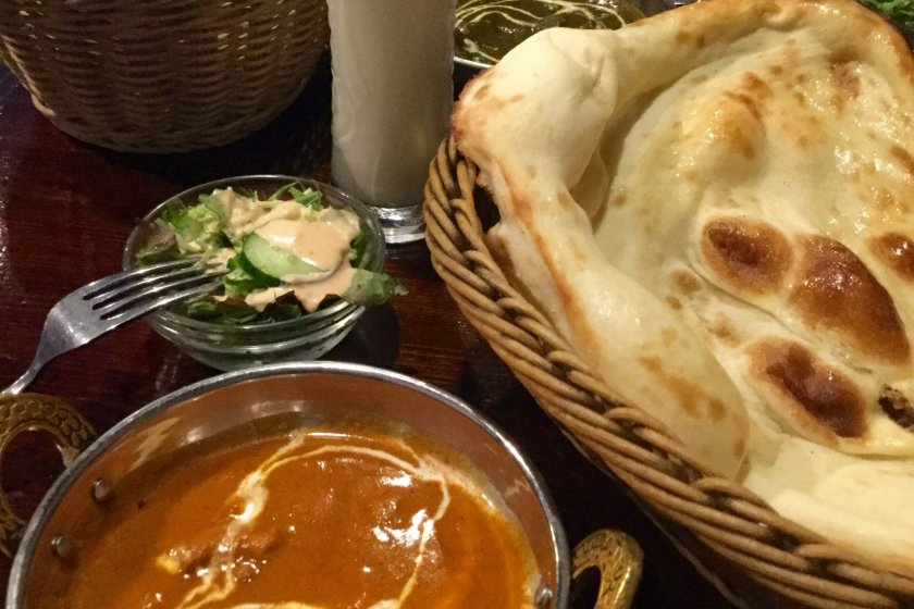 Curry set comes with naan (or rice) and salad.