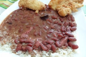 My all-time favorite: Fried catfish with red beans & rice