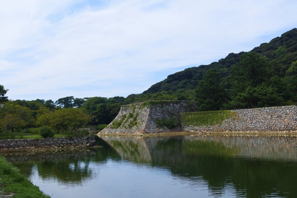 The stone walls of  Hagi Castle