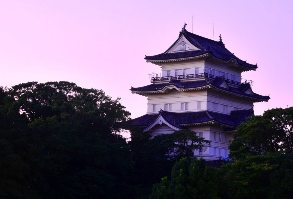 A picture Odawara castle taken from a nearby hill. The enclosure of Odawara castle has a perimeter of 15km.