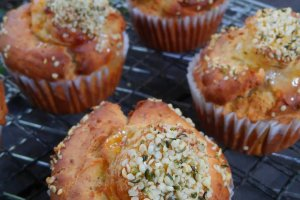 Muffins sprinkled with hemp hearts