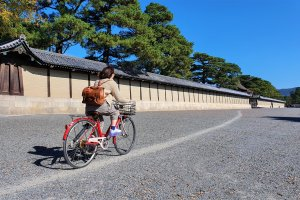 Even Kyoto Imperial Palace is an easy ride from the Kamo River cycleway in Kyoto