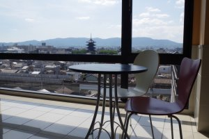 View to the Toji Temple area from the top floor of Kyoto Plaza Hotel just moments from JR Kyoto Station