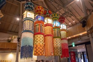 Tanabata decorations on display at the Sendai Tanabata Museum