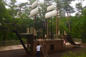 Entrance to the adventure course is marked by this ship, a popular play spot for kids of all ages.