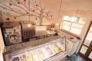 The beautiful wall mural, with the Cattabriga gelato machine in the back corner
