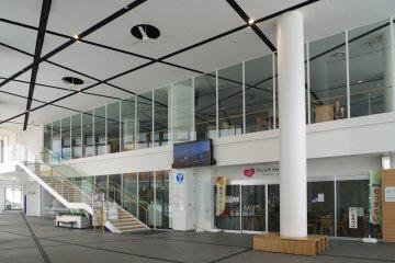 Inside the station building