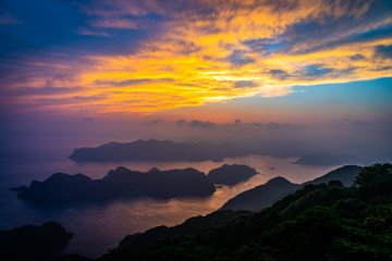 Sunset from Mt. Kome looking across the Wakamatsu Strait