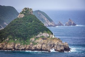 The craggy shorelines of Kamigoto: Yagatame Park with Totoro Rock and lighthouse