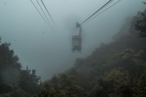 Dense fog at the top of the Mount Misen